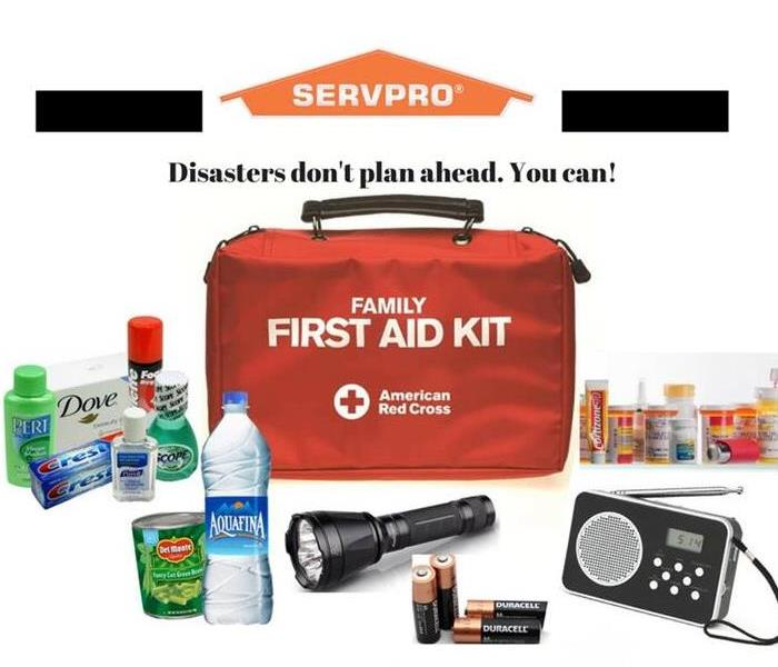 First aid kit, hygienic items, water and canned food, a flash light, radio, and over the counter meds.