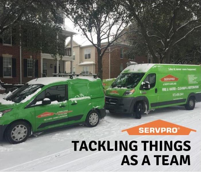 servpro vehicles in snow
