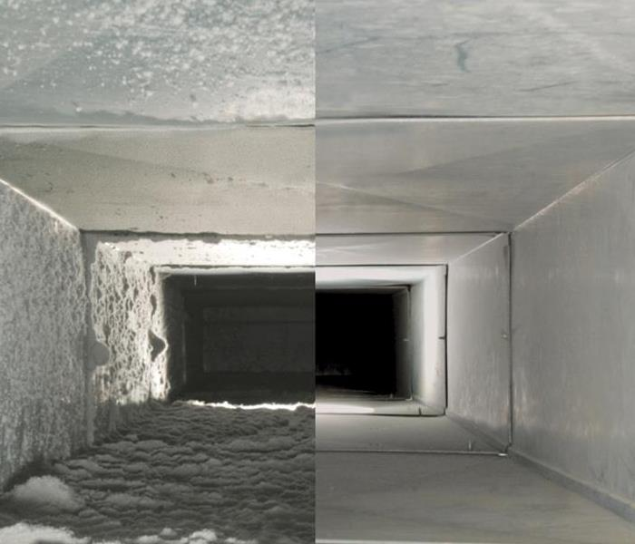 Before and after photos of commercial air duct cleaning. Left side shows dust build up right side is duct after removal.
