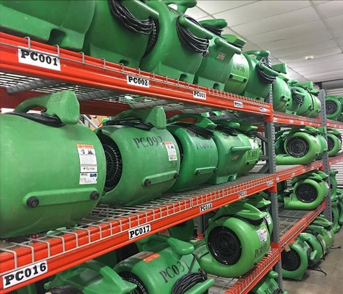 Many air dryers in a SERVPRO storage facility.
